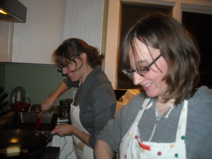 The Marks sisters taking names in the kitchen one friends Thanksgiving, about 5 years ago.