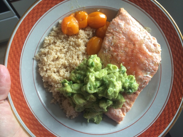 A really simple dish you should try at home--roast some salmon in olive oil, salt and pepper wrapped in foil for about 12 minutes. Serve on couscous and a salad of avocado, chives, olive oil and lime juice. Based on a recipe from the first cook book I ever owned.