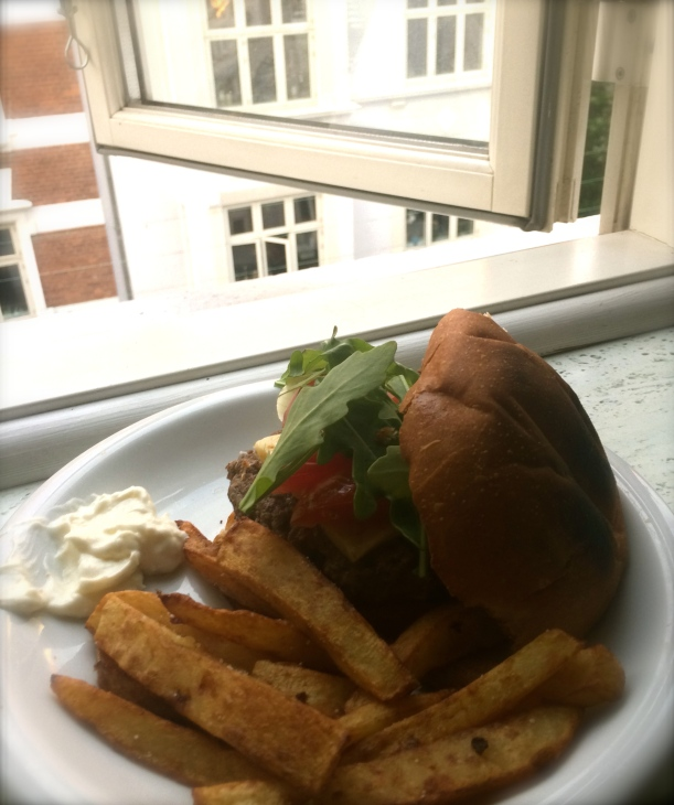 My first attempt at french fries (twice fried) and a burger to quell some nostalgia for home